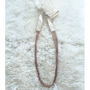 J.Crew Rose Gold Chain & Ribbon Long Necklace